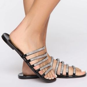 Shoes - 💗ARRIVED 💗Sexy diamond flat black sandals
